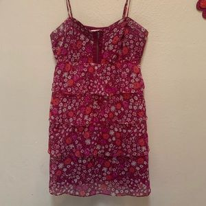 American eagle floral magenta tiered ruffle dress
